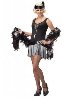 Charleston-Kostüm für Damen Gangster-Braut schwarz-grau