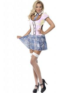 Sexy Schulmädchen-Kostüm für Damen weiss-blau