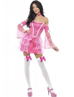 Sexy Barock Damenkostüm pink-weiss