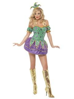 Sexy Harlekin Kostüm grün-lila