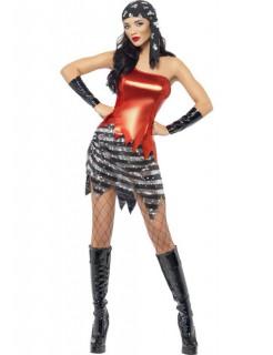 Heiße Piratin Kostüm schwarz-rot-weiss