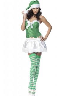 Sexy Weihnachtsfrau Damenkostüm Wichtel weiss-grün