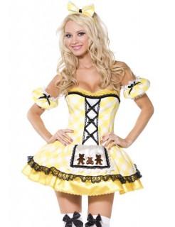 Sexy Märchen-Lady Damenkostüm Dirndl gelb-weiss-schwarz