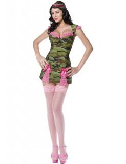 Sexy Militär Schwester Damenkostüm grün-braun-pink