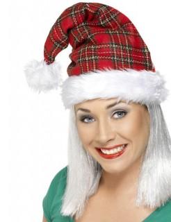 Weihnachtsmütze Karo-Muster Weihnachten rot-weiss