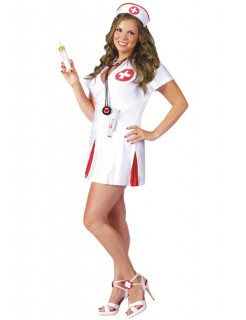 Sexy Krankenschwester Kostüm weiss-rot