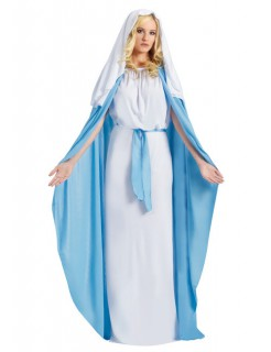 Maria Damenkostüm Krippenspiel weiss-hellblau