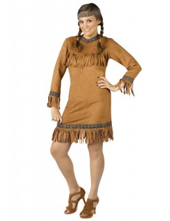 Indianerin Kostüm hellbraun-blau