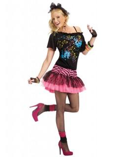 80er Disco Damenkostüm schwarz-pink