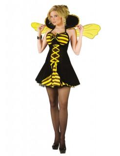 Bienenkönigin Damenkostüm Tierkostüm gelb-schwarz