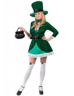 Sexy Koboldin Damenkostüm Elfe grün-weiss