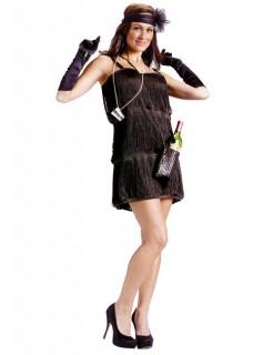 20er Jahre Showgirl Damenkostüm schwarz