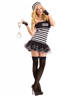 Sexy Verbrecherin Kostüm schwarz-weiss