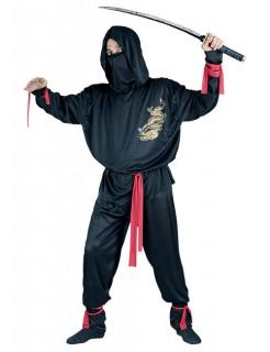 Ninja Kostüm Asien schwarz-rot-gold