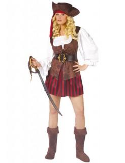 Sexy Piratin Kapitänin Damenkostüm braun-rot-weiss