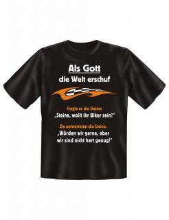 Funshirt Steine wollt ihr Biker sein T-Shirt schwarz-orange-weiss