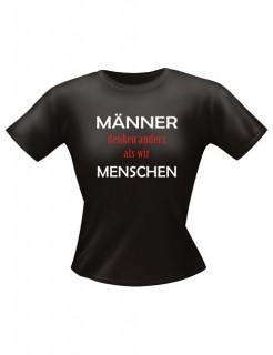 Girlie Shirt Männer denken anders Funshirt schwarz-weiss-rot