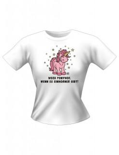 Einhörner Girlie-Shirt weiss-rosa-gelb