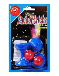 Kugelpokal Zaubertrick Scherzartikel blau-rot