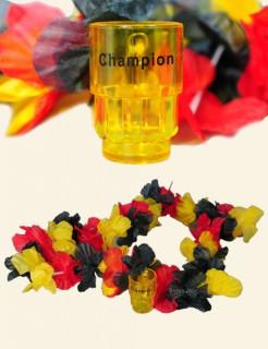 Hawaiikette Deutschland mit Schnapsglas Fussball schwarz-rot-gelb 100cm