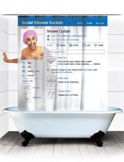 Soziales Netzwerk Duschvorhang weiss-blau 180x180cm