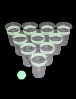 Leuchtendes Beer Pong Party Trink-Spiel 24-teilig weiss-transparent