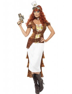 Steampunk Wildwest Agentin Cowgirl Damenkostüm braun-weiss