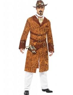 Steampunk Wildwest Agent Cowboy Kostüm braun-weiss