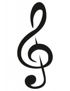 Selbstklebende Tattoo-Schablone Notenschlüssel grau