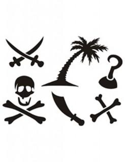 Selbstklebendes Schablonen-Set Tattoos Karibikpiraten 6-teilig schwarz