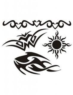 Selbstklebendes Schablonen Set Tribal-Tattoos weiss