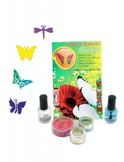 Glitzer Tattoo-Set Butterfly bunt