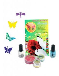 Glitzer Tattoo-Set Butterfly bunt