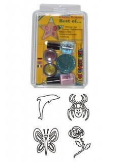 Glitzer Tattoo-Set Best of Schablonen bunt