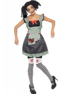 Ragdoll-Damenkostüm Halloweenkostüm schwarz-weiss-rot
