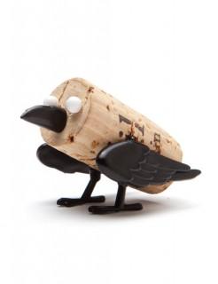 Kork-Figur Krähe Tierfigur Gastgeschenk schwarz-weiss