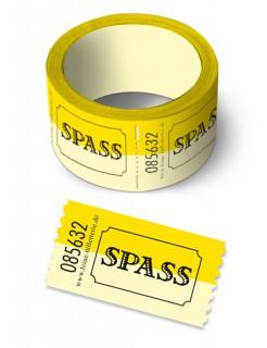 Spaß-Ticket Gutschein Geschenkidee gelb 550cm