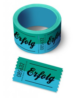 """Gutschein """"Erfolg"""" Ticket blau-grün 550cm"""