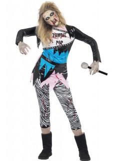 Zombie Popstar 80er Halloween Damenkostüm blau-schwarz-weiss