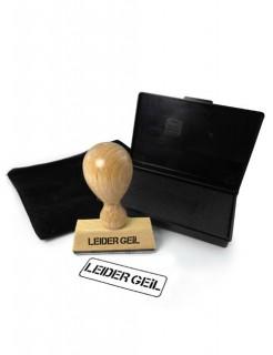 Stempel LEIDER GEIL Geschenkartikel braun-schwarz 5x7x1,5cm