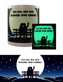 Nachtleuchtende Tasse Sternenhimmel Valentinstags-Geschenk blau-schwarz-weiss