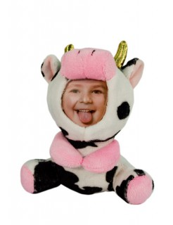 Stofftier Bilderrahmen Kuh Geschenkartikel weiss-schwarz-rosa 15cm