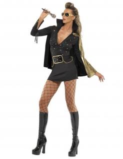 Elvis Damenkostüm schwarz-gold