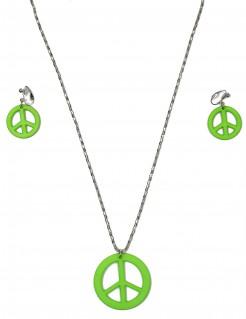 Hippie Set Peace Kette und Ohrringe neonfarben