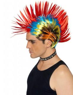 80er Punk Iro Perücke rot-blau-gelb