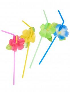 Blüten Strohhalme Hawaii Party-Zubehör 6 Stück bunt 24cm