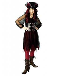 Piratin Totenkopf Damenkostüm schwarz-silber-rot