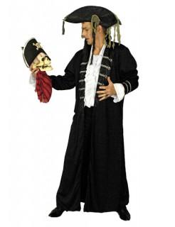 Piratenmantel Gothicmantel Vampir schwarz-silber