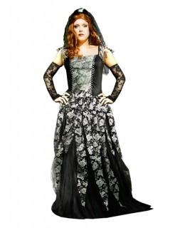 Gothic-Braut Halloween Damenkostüm schwarz-weiss-silber