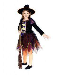 Hexe Halloween-Kinderkostüm schwarz-grün-orange
